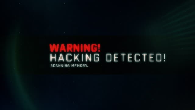 Warning, hacking detected text on screen, system message, notification