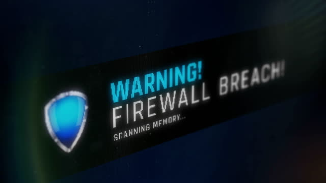 warning message, firewall breach screen notification, threat found, scanning - minacce video stock e b–roll