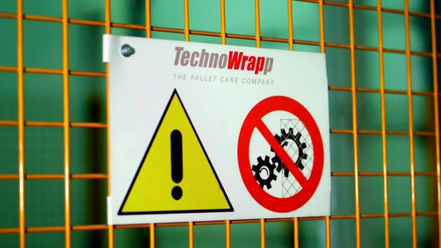 warning sign text with black painted letters on yellow background. concept for do not enter the area, caution, danger, construction site. sign with safety notices in factory. no access sign warning while machine is working - icon set healthy video stock e b–roll