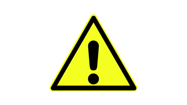 Warning symbol of a dangerous point, animated, footage ideal for special effects and post-production