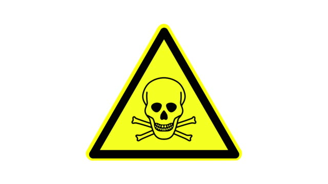 vídeos y material grabado en eventos de stock de símbolo de advertencia sustancias tóxicas, animado, metraje ideal para efectos especiales y post-producción - nocivo descripción física