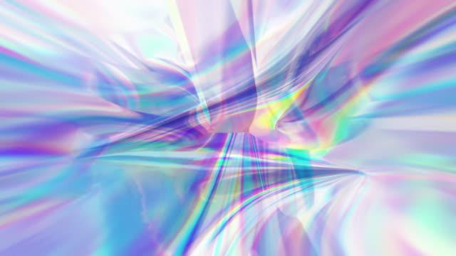 歪められたサイケデリックなホログラフィック抽象的な背景のループ - 玉虫色点の映像素材/bロール