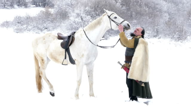 Warrior with horse. Knight with a white horse in the winter work helmet stock videos & royalty-free footage