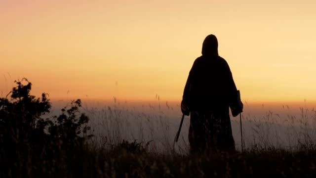 vídeos y material grabado en eventos de stock de mujer guerrera en el campo de batalla - vikingo