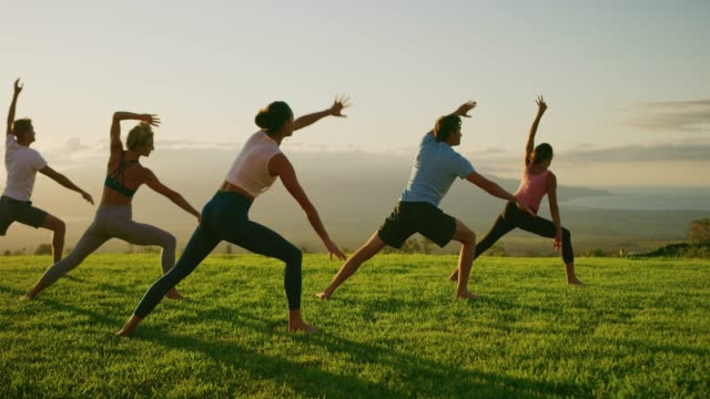 Warriors at sunset Yoga class at sunset, happy diverse group of young people practicing yoga poses together, stretching health and wellness yoga stock videos & royalty-free footage