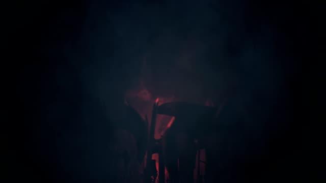 warriors waving weapons under a lightning storm - lightning стоковые видео и кадры b-roll
