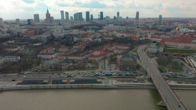 warsaw downtown skyline city time lapse with clouds dynamic, poland - польша стоковые видео и кадры b-roll