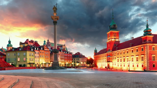 Warsaw, Old town square at sunset, Poland, nobody, Time lapse video