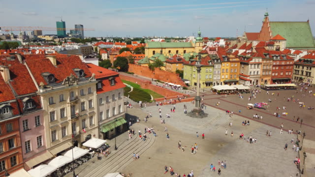 warsaw old town - polonia video stock e b–roll