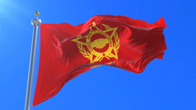 Warsaw Pact Flag Waving At Wind With Blue Sky Loop Stock Video - Download Video Clip Now - iStock