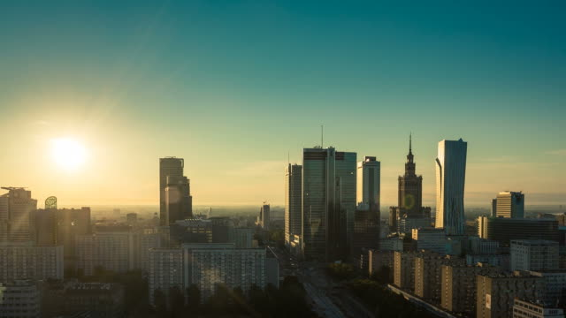 Warsaw Skyline Sunrise City Timelapse, Poland video