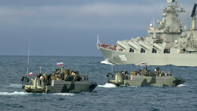 Bидео warship in support of special forces boats