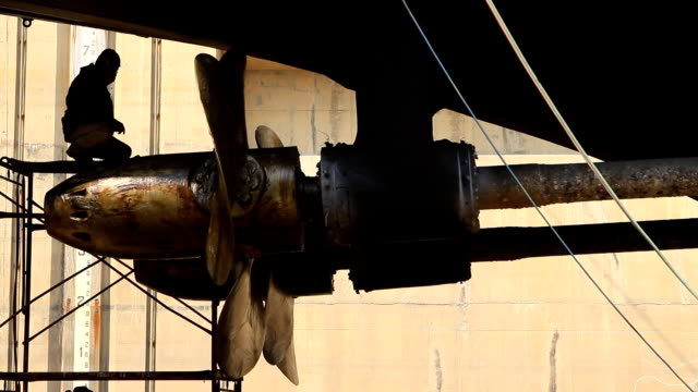 Warship repaired in dock warship repaired in  dry dock:High Definition 1920x1080 Format propeller stock videos & royalty-free footage