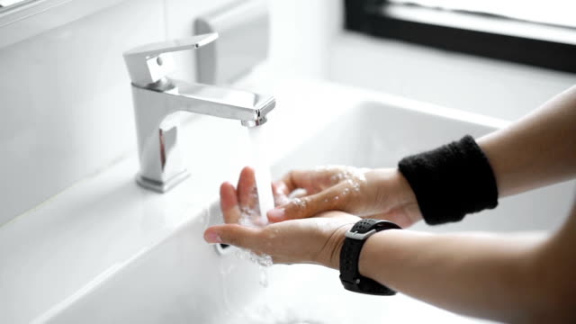 Washing hands after Gym with Smart Watch video
