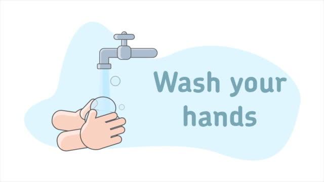 tvätta händerna tecknad animation tecken - washing hands bildbanksvideor och videomaterial från bakom kulisserna