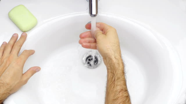 Washing hands with soap. video