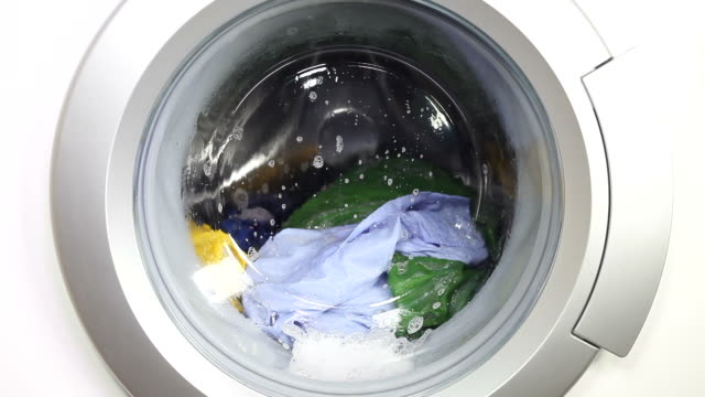Washing machine and colorful laundry video