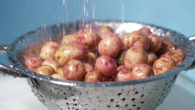 washing new potato under running water. rinsing heap of young potatos - молодой картофель стоковые видео и кадры b-roll