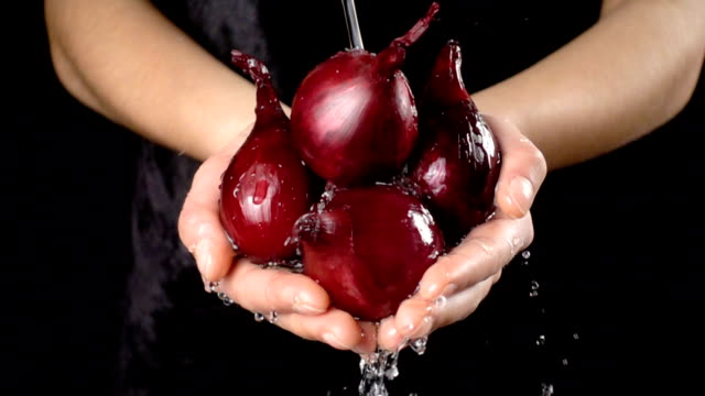 Washing the red onion bulbs in woman hands, slow motion Washing the red onion bulbs in woman hands with water drops on black background, slow motion onion stock videos & royalty-free footage