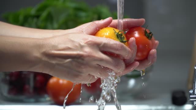 Washing tomatos Thailand,Tomato,Sink, Tomato, 4K Resolution, Cleaning, Close-up tomato salad stock videos & royalty-free footage