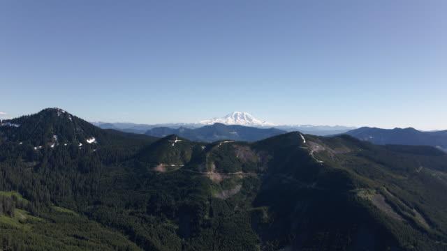 Washington Cascade Mountains Aerial with Mt Rainier and Spring Blue Sky