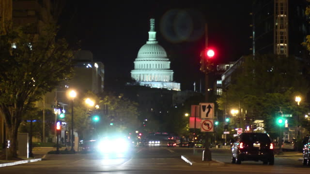Washington DC at night, time lapse video