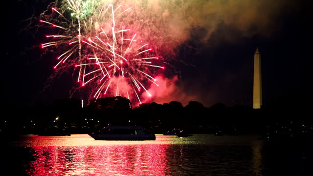 washington dc fuochi d'artificio - giorno dell'indipendenza video stock e b–roll