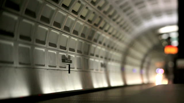 Washington DC Metro (Tilt Shift Lens) Metro train in station in Washington DC (Canon 5DMKII) underground stock videos & royalty-free footage