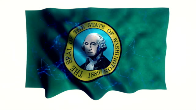 Washington flag waving animation