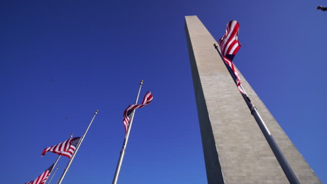 Washington Monument and american flags in DC USA video