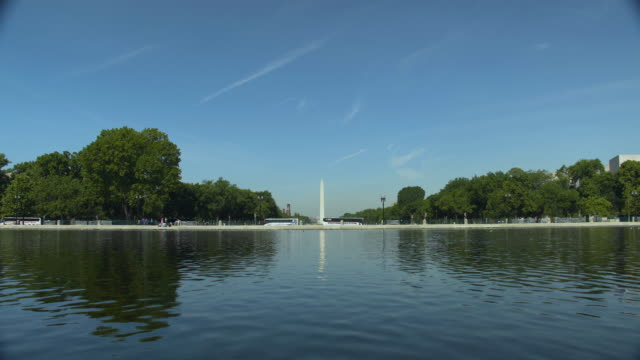 Washington Monument The reflecting pool on The Mall in Washington DC with the Washington Monument in the distance. national landmark stock videos & royalty-free footage