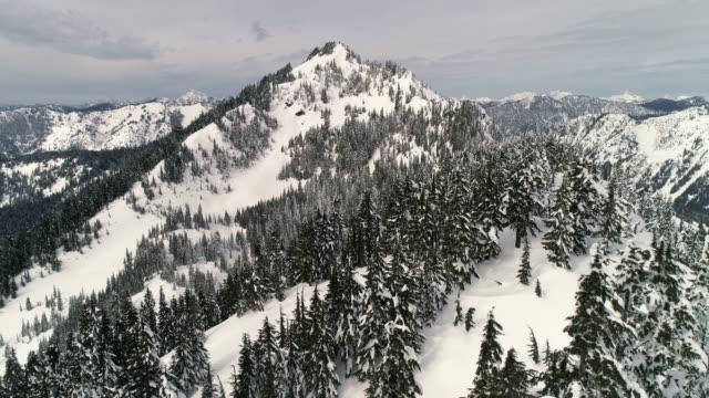 Washington Snowy Mountain Peak Drone Video video