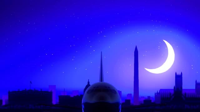 Washington USA America Airplane Take Off Moon Night Blue Skyline Travel video