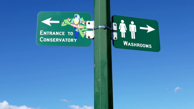 Washrooms and direction to conservatory sign with blue sky background video