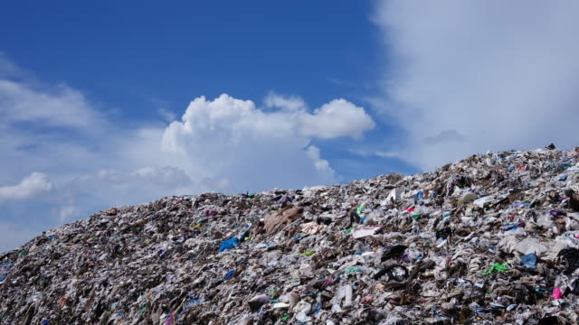 Waste Mountain With Cumulus Clouds - Time Lapse 4k video