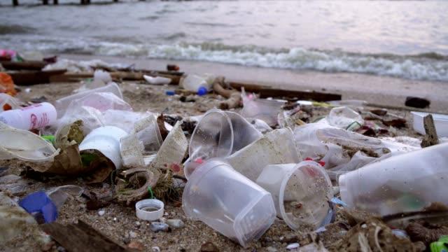 avfall föroreningar på stranden - plastic ocean bildbanksvideor och videomaterial från bakom kulisserna