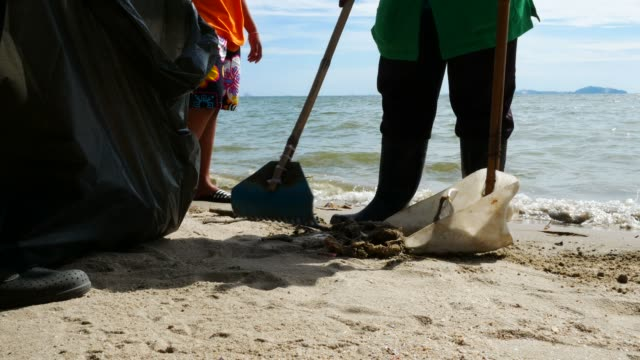 waste pollution on beach video