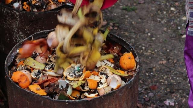 Waste sorting. Home compost barrel