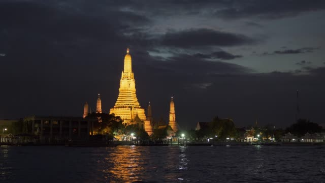 Wat Arun after sunset. Bangkok, Thailand. Panning shot Wat Arun after sunset. Bangkok, Thailand. Panning shot southeast stock videos & royalty-free footage