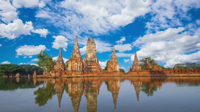 wat chaiwatthanaram, ancient temples of ayutthaya - india statue bildbanksvideor och videomaterial från bakom kulisserna