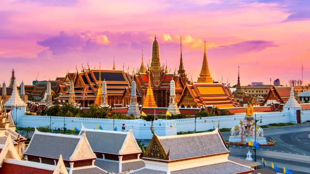 Wat Phra Kaeo Famous Landmark Temple Of Bangkok City, Thailand Time Lapse (4 shots) video