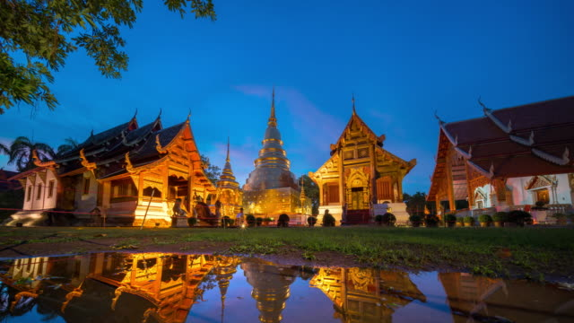 wat phra singh temple twilight time - wat video stock e b–roll