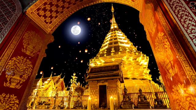 Wat Phra That Doi Suthep Temple And Sky Fire Lantern On Full Moon Background of Chiang Mai, Thailand video