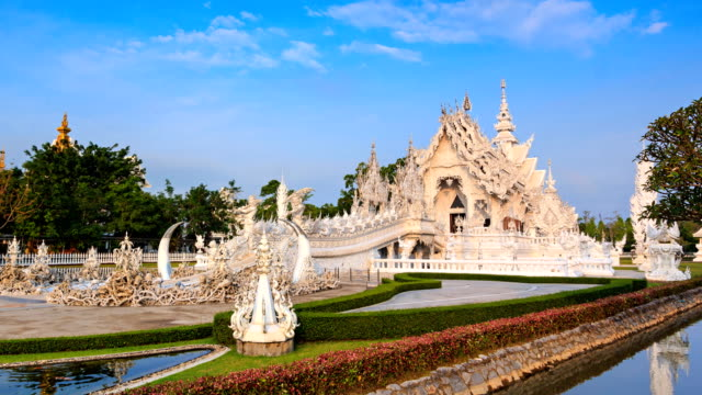 Wat Rong Khun Beautiful White Temple Landmark Travel Place Of Chiang Rai, Thailand 4K Time Lapse (zoom in) video