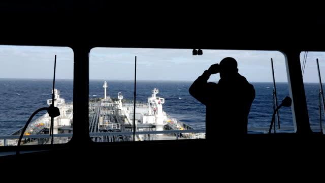 Watch officer observing around by binocular. video