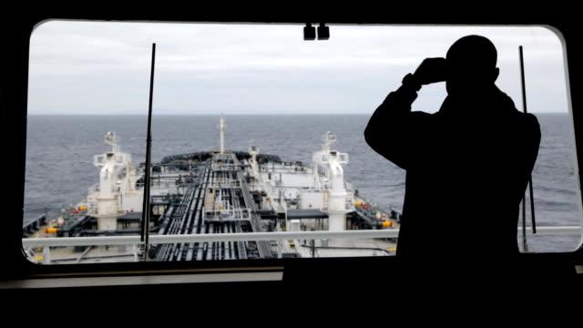 Watch officer observing around by binocular.