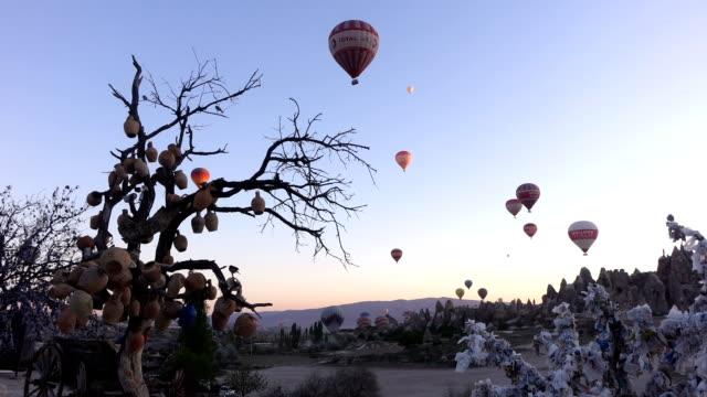 vor dem heißluftballon in kappadokien unter baum mit türkischen horusauge - zentralanatolien stock-videos und b-roll-filmmaterial