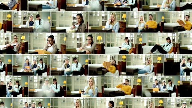 stockvideo's en b-roll-footage met tv-kijken. video wall. - 20 29 jaar