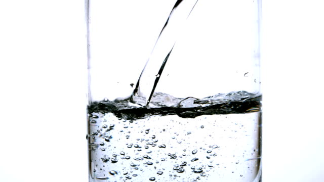 Water being poured into a glass on white background video
