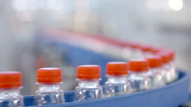 Water bottle conveyor industry. Production of  water. video